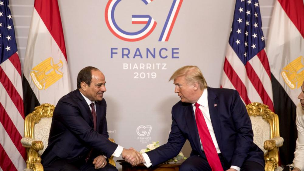 President Donald Trump and Egyptian President Abdel Fattah al-Sisi participate in a bilateral meeting at the G-7 summit in Biarritz, France, Monday, Aug. 26, 2019. (AP Photo/Andrew Harnik)
