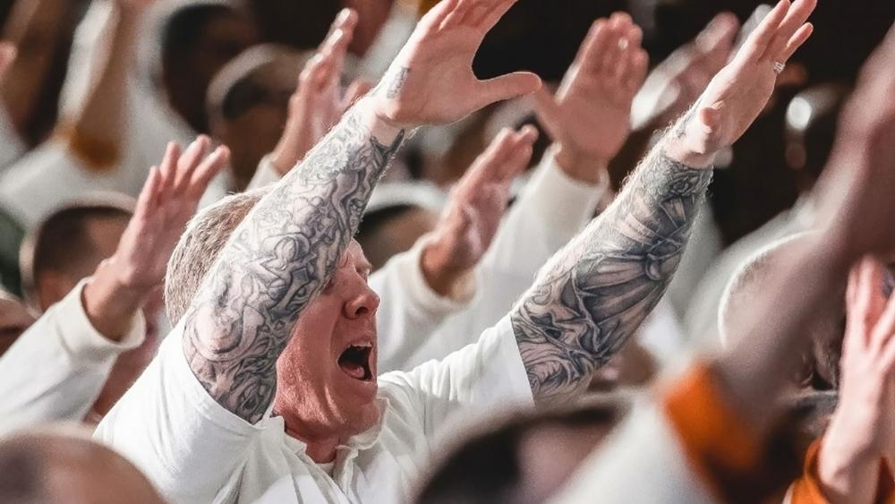 Inmates at the Coffield Prison located near Tennessee Colony, Texas participate in a worship service at the Gateway Church's new prison campus. (Image courtesy: Gateway Church/Facebook. Used with permission.)