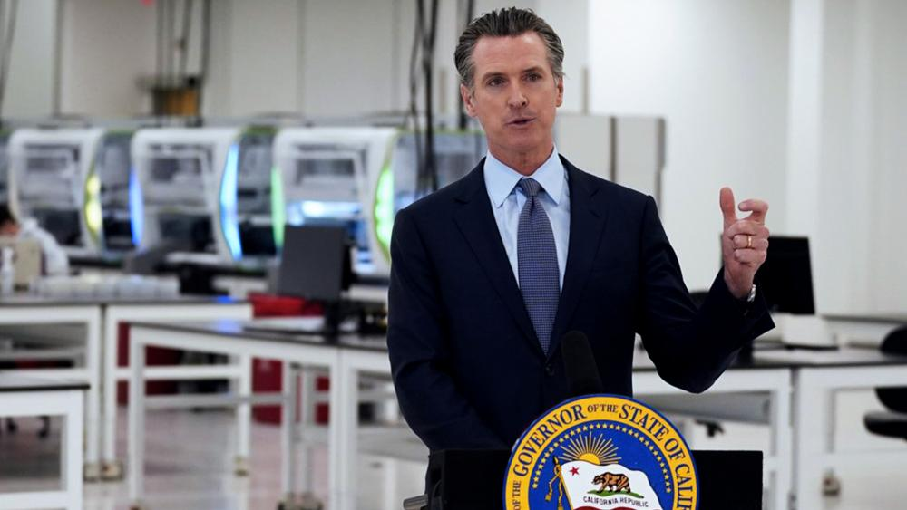 In this Oct. 30, 2020, file photo, California Gov. Gavin Newsom speaks at a COVID-19 testing facility in Valencia, Calif. (AP Photo/Marcio Jose Sanchez, Pool, File)