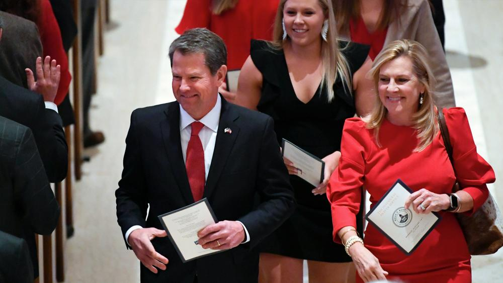 Georgia Gov. Brian Kemp and First Lady Marty Kemp (AP Photo)