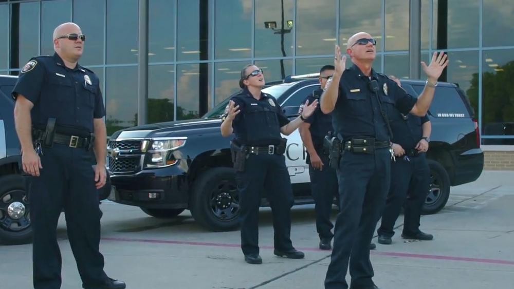 """Officers of the Crandall, Texas Police Department appear in their lip-sync version of the popular Christian song """"God's Not Dead."""" Photo courtesy:  Crandall Police Department/Facebook"""