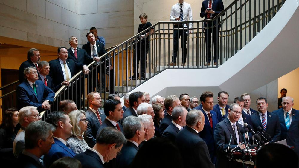 House Republicans gather for a news conference Wednesday on Capitol Hill in Washington. (AP Photo/Patrick Semansky)