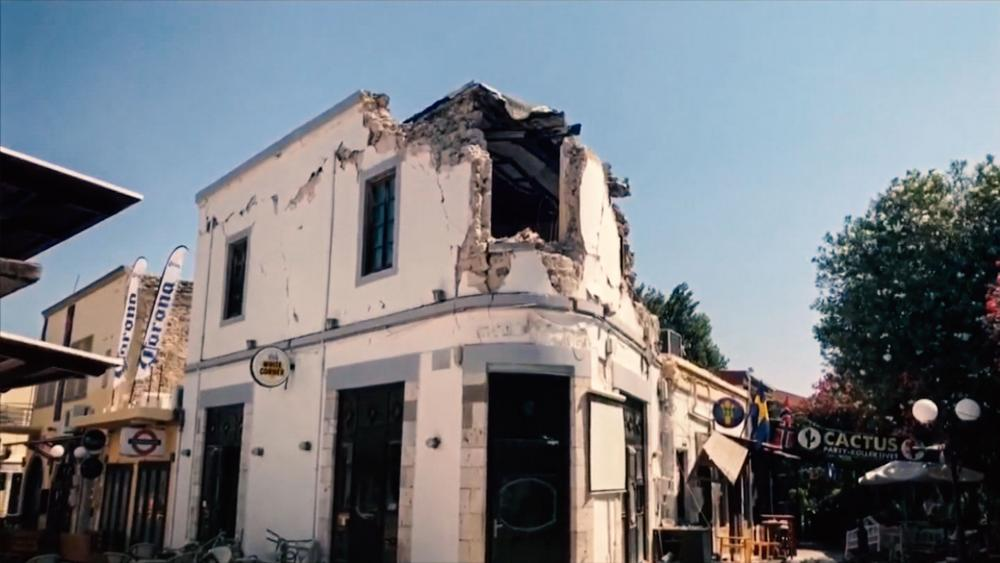 Earthquake Damaged White Corner Club on Greek Island of Kos, Photo, Associated Press