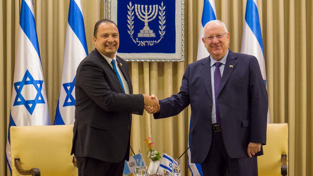 Guatemalan Ambassador Mario Bucaro and Israeli President Reuvin Rivlin, Photo, CBN News, Jonathan Goff