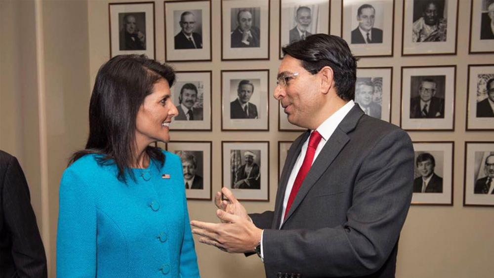 Israeli UN Amb. Danny Danon welcomes US UN Ambassador Nikki Haley, Photo, Facebook