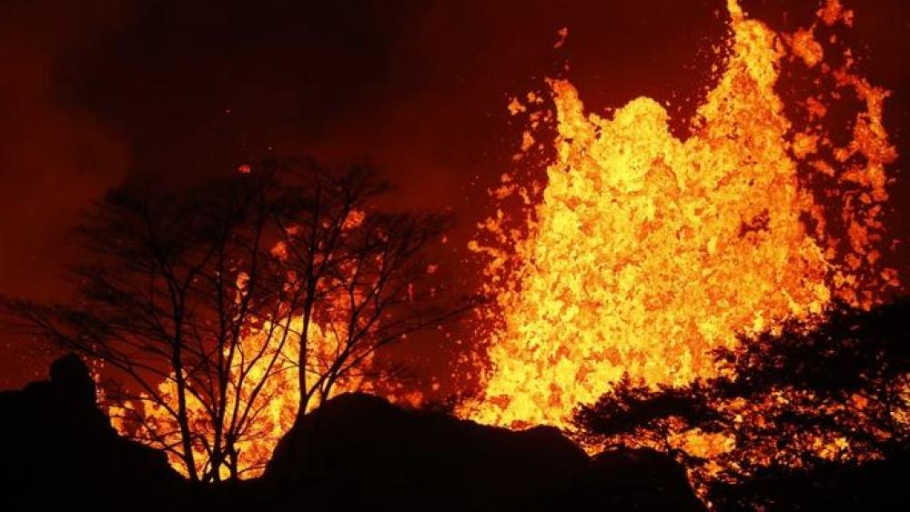 Lava erupts inside the Leilani Estates near Pahoa, Hawaii.