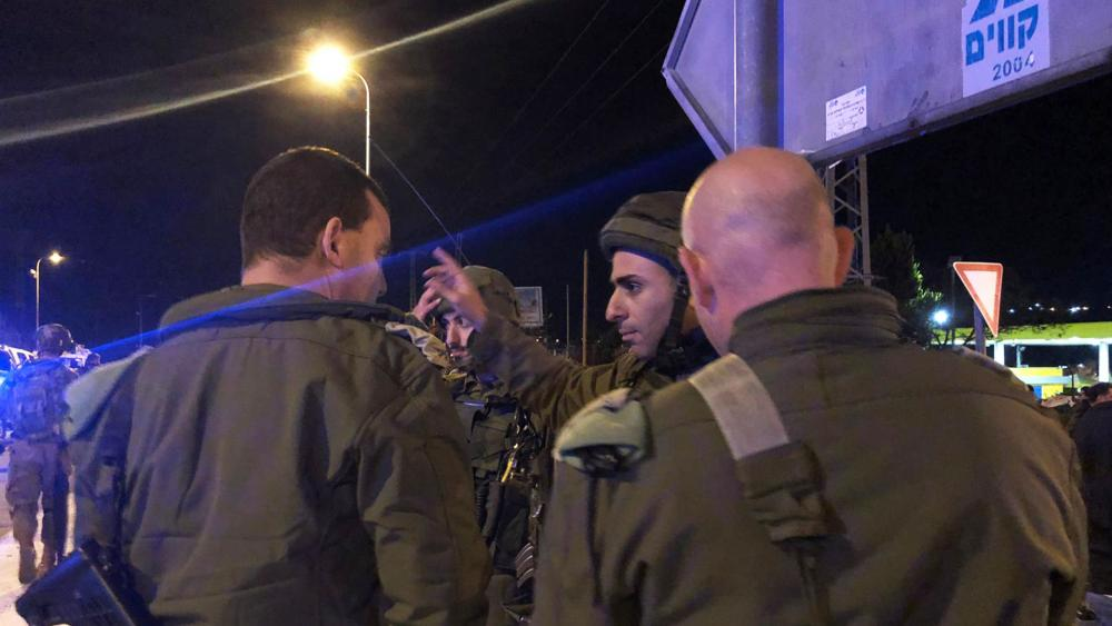 Israeli Security Forces at the Scene of Sunday's Drive-by Shooting in Samaria, Photo, IDF