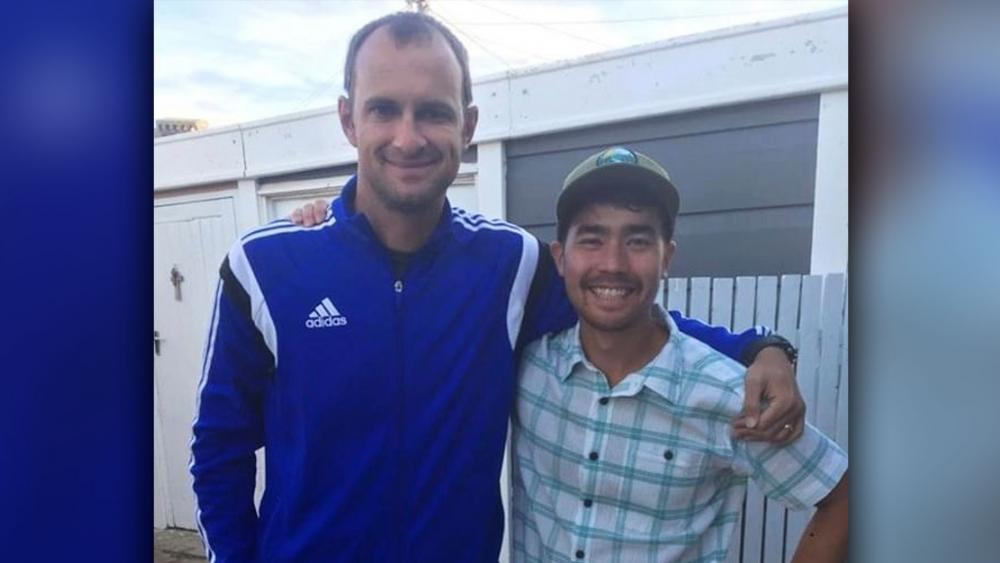 In this October 2018 photo, American John Allen Chau, right, stands for a photograph with Founder of Ubuntu Football Academy Casey Prince, 39, in Cape Town, South Africa, days before he left for in a remote Indian island where he was killed.