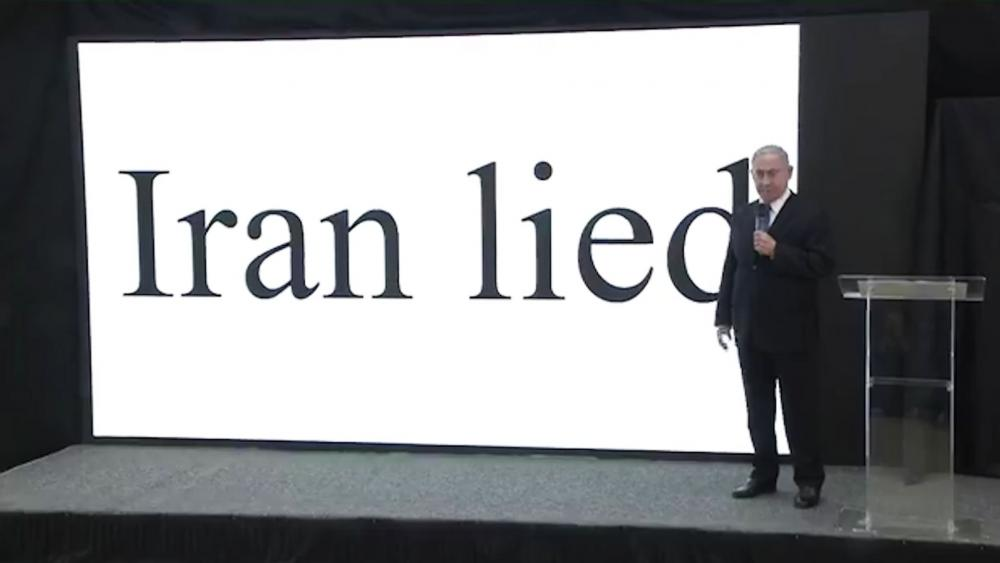Israeli Prime Minister Benjamin Netanyahu stands before a graphic in Monday's presentation on Iran's nuclear weapons program, Photo, Screen Capture