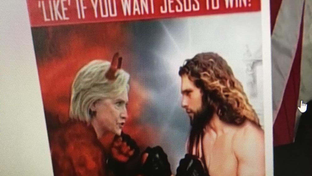 army of jesus facebook pits hillary versus christ russian