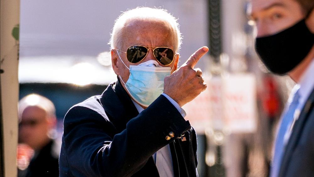 Joe Biden arrives at The Queen theater, Wednesday, Nov. 18, 2020, in Wilmington, Del. (AP Photo/Andrew Harnik)