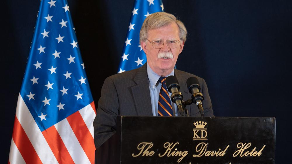 US National Security Advisor John Bolton Speaks with Reporters in Jerusalem, Photo, CBN News, Jonathan Goff