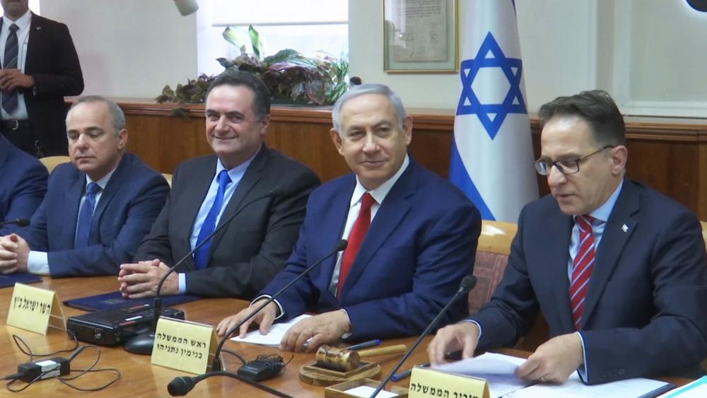 Israeli Prime Minister Benjamin Netanyahu Meets with Cabinet Ministers, Screen Capture, AP