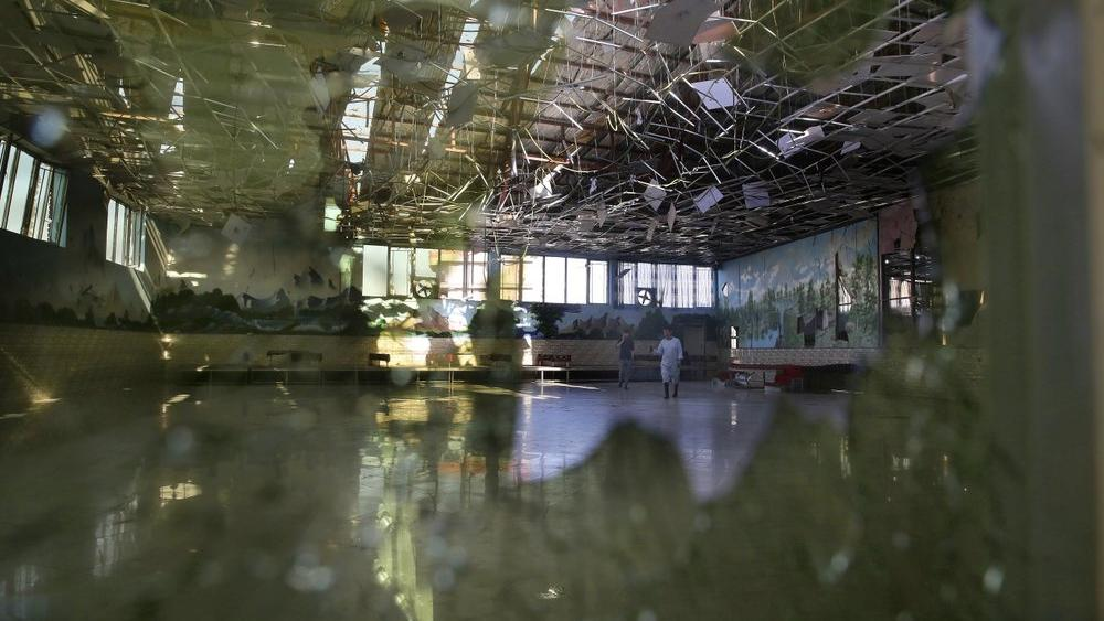 Damage of the Dubai City wedding hall is seen after an explosion in Kabul, Afghanistan, Sunday, Aug. 18, 2019 (AP Photo/Rafiq Maqbool)