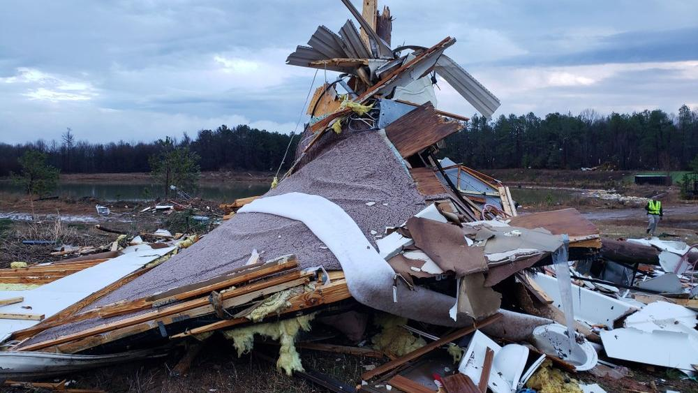 This photo provided by Bossier Parish Sheriff's Office shows damage from Friday nights severe weather - Jan. 11, 2020. (Lt. Bill Davis/Bossier Parish Sheriff's Office via AP)