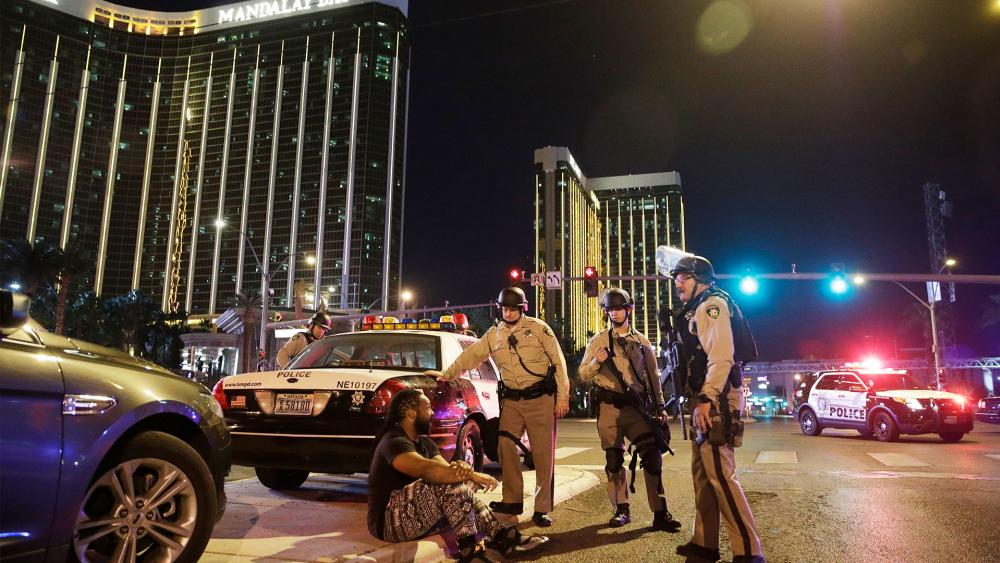 Police Officers at Scene of Shooting in Las Vegas, Photo, AP