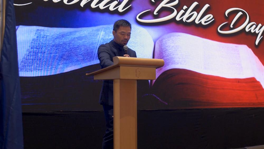 Manny Pacquiao speaks at National Bible Day in the Philippines.