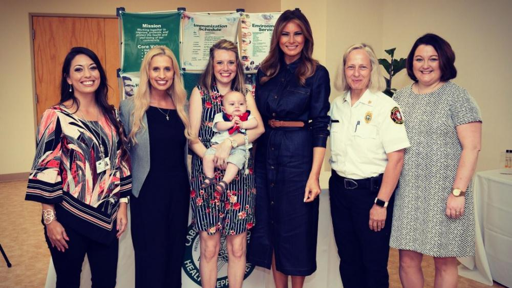 On Monday, First Lady Melania Trump met with a small group of women affected by the opioid crisis in Huntington, WV. (Image credit: FLOTUS/Twitter)