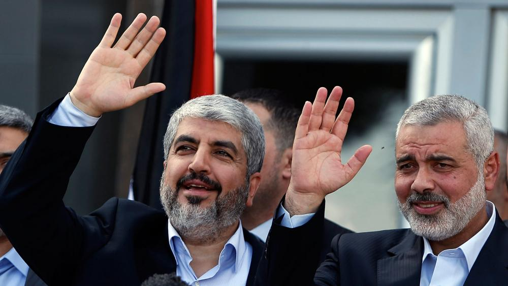 Khaled Meshaal and Ismail Haniyeh, AP file photo