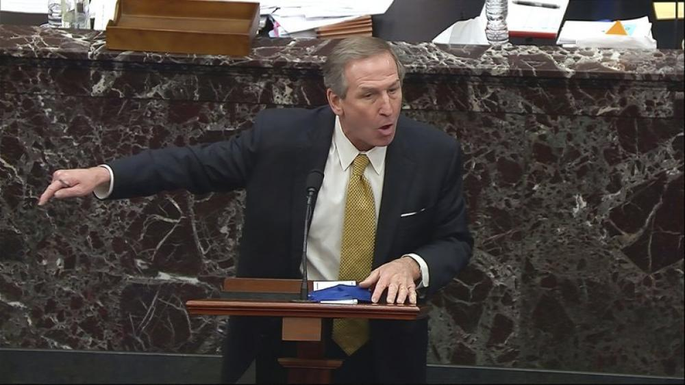 Michael van der Veen, an attorney for former President Donald Trump, speaks during impeachment trial. (Senate Television via AP)