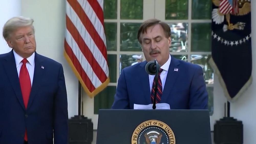 My Pillow CEO Mike Lindell joins President Trump at the White House