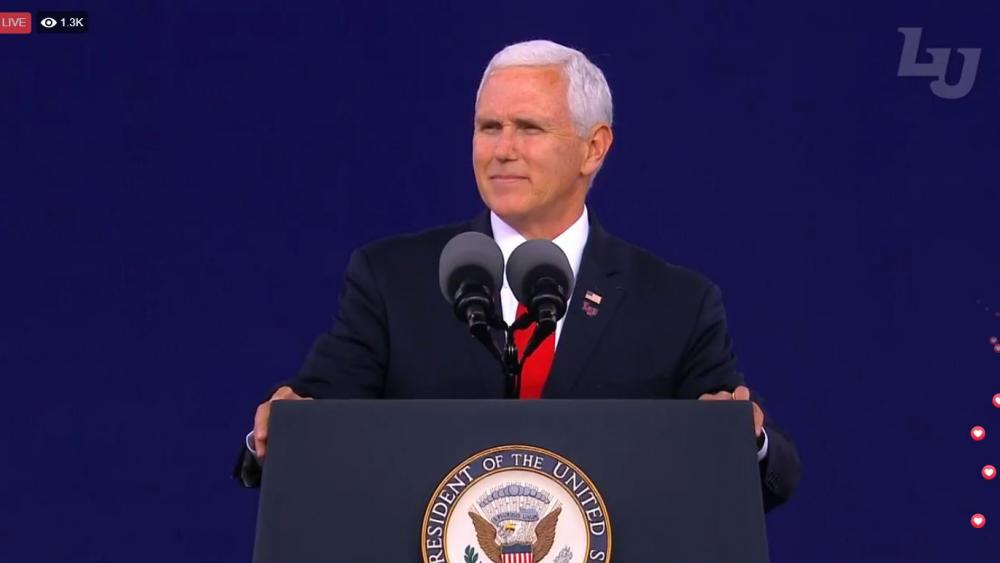 Vice President Mike Pence delivers the keynote address at Liberty University's 46th Commencement ceremony Saturday in Lynchburg, Va. (Screenshot courtesy: Liberty University/Facebook)
