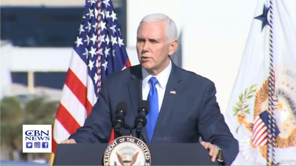 Vice President Mike Pence speaks at the founding ceremony of the US Space Command at Florida's Kennedy Space Center on Tuesday. Image courtesy: CBN News