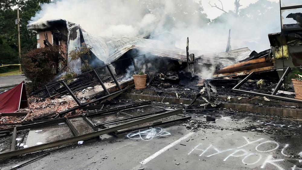 Rubble of the First Pentecostal Church in Holly Springs, Miss., May 20, 2020. The church was burned about a month after it filed a lawsuit challenging city restrictions amid the pandemic. (Major Kelly McMillen/Marshall County Sheriff's Office via AP)