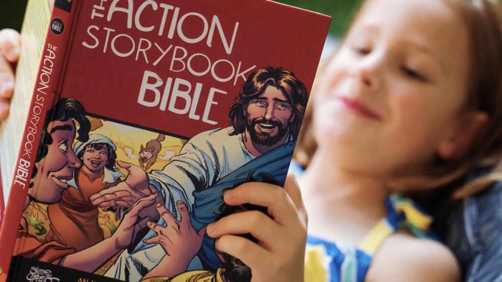 Girl Reading Action Storybook Bible