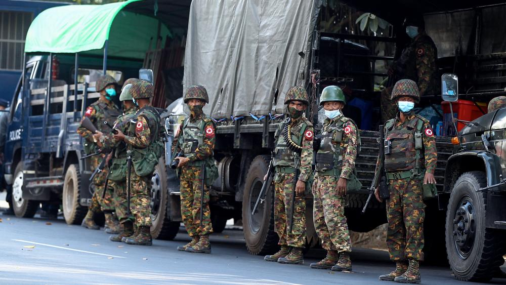 Myanmar's Military Deployed on Streets