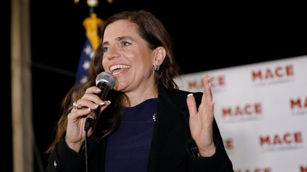 Republican Nancy Mace talks to supporters during her election night party Tuesday, Nov. 3, 2020, in Mount Pleasant, S.C. Mace is running for South Carolina's 1st Congressional District. (AP Photo/Mic Smith)