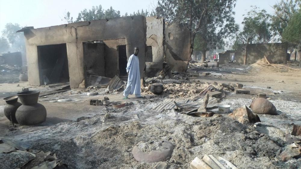 Remnants of a burned-outvillage after an attackby Boko Haram in Nigeria near Maiduguri. (AP Photo, Jan. 31, 2016, Jossy Ola)