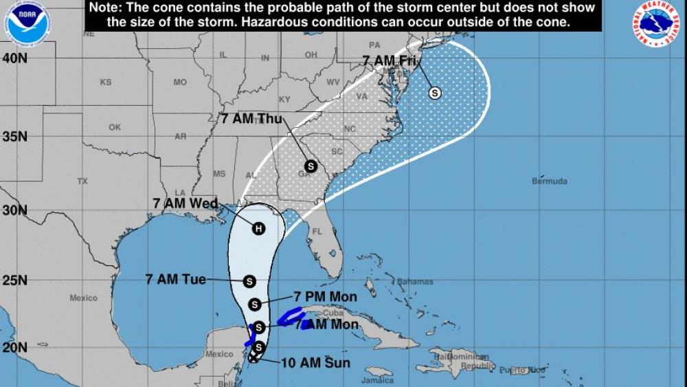 Tropical Storm Michael's projected path to the US Gulf Coast. Image Courtesy: NOAA