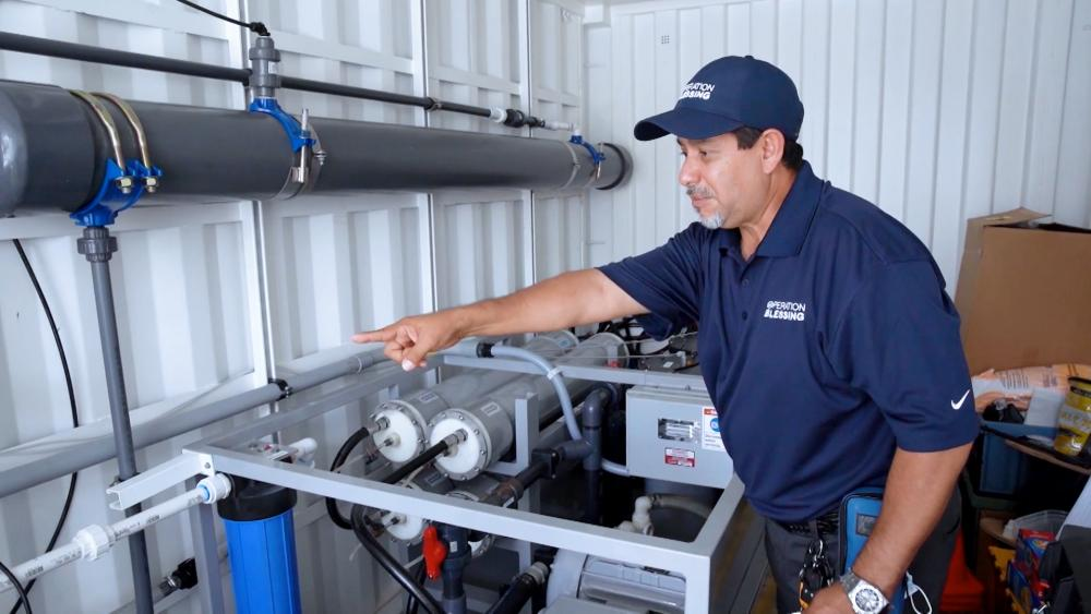 Operation Blessing provides reverse osmosis machine to helps Louisiana hospital reopen.