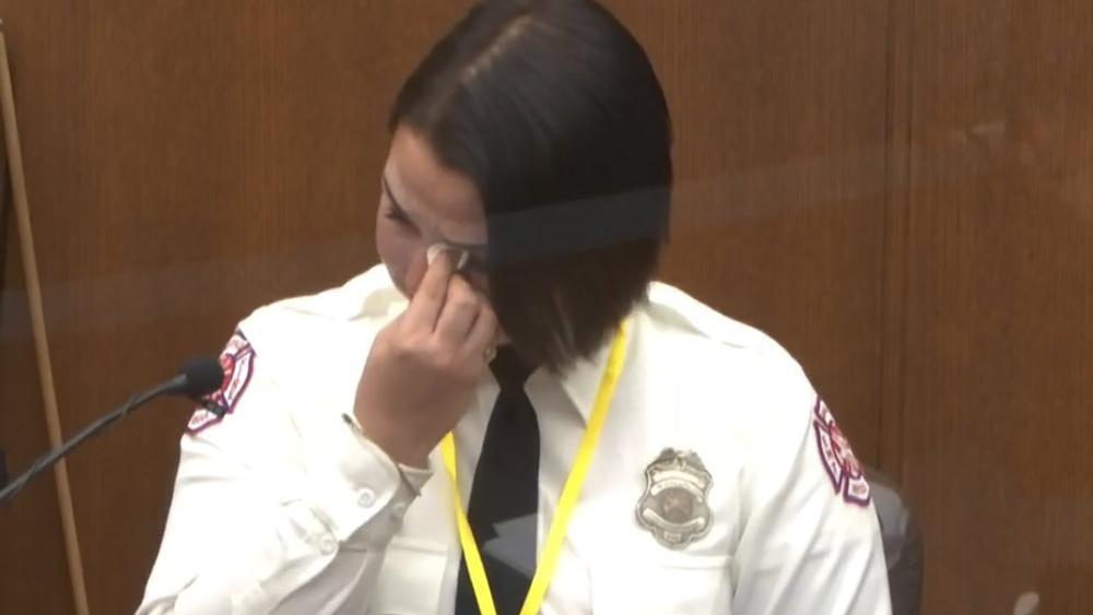 Minneapolis Firefighter Genevieve Hansen at the trial of former Minneapolis police Officer Derek Chauvin (Court TV via AP, Pool)