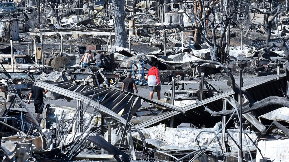 The fire-ravaged Coleman Creek Estates mobile home park in Phoenix, Ore., on Sept. 9, 2020. The Almeda Fire that burned through Phoenix and Talent in southern Oregon destroyed approximately 600 homes (Scott Stoddard/Grants Pass Daily Courier via AP)