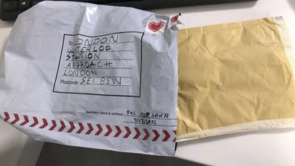 In this handout photo provided by Sky News, a suspect package that was sent to Waterloo station is seen in England, Tuesday, March 5, 2019. (Sky News via AP)