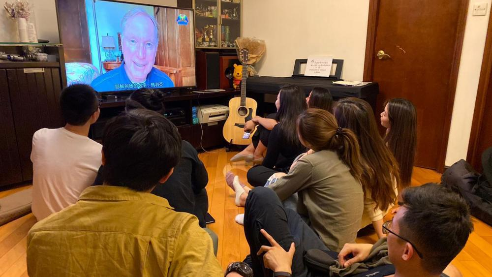 A group of young adults in China tune in to Pulse's Good Friday service Friday, April 10 (Photo courtesy Pulse)
