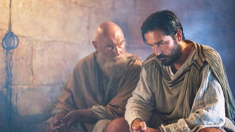 "James Faulkner as the Apostle Paul and Jim Caviezel as Luke, the physician in ""Paul, Apostle of Christ."" Photo Credit: Affirm Films"
