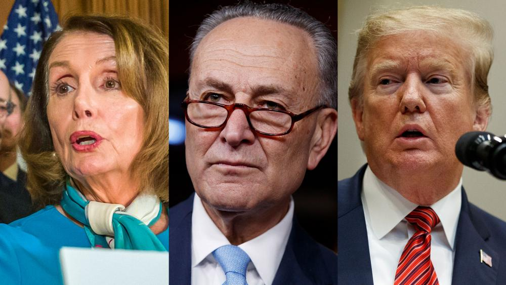 House Speaker Nancy Selosi (D-CA), Senate Majority Leader Chuck Schumer (D-NY), and former President Donald Trump
