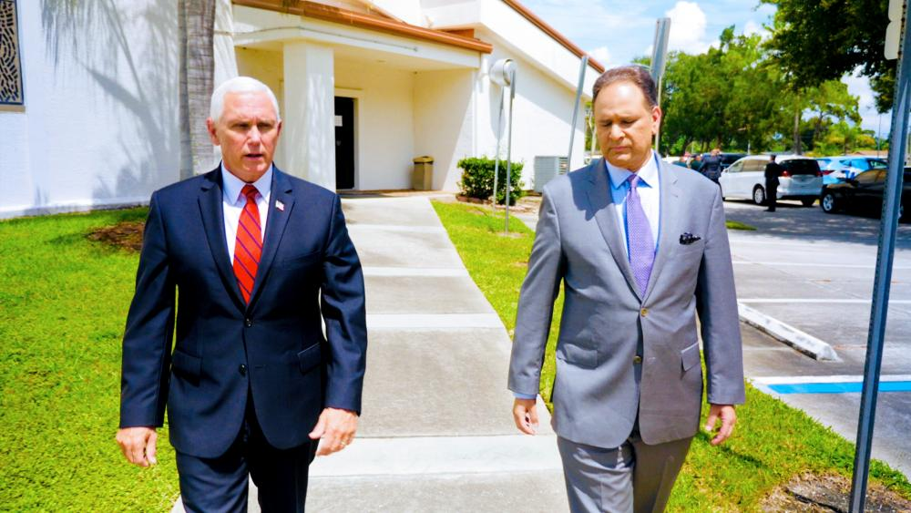 Vice President Mike Pence with CBN News Chief Political Analyst David Brody (Photo: CBN News)