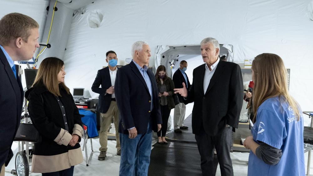 Former Vice President Mike Pence Tours Samaritan's Purse Facilities with Franklin Graham (Photo courtesy: Samaritan's Purse)