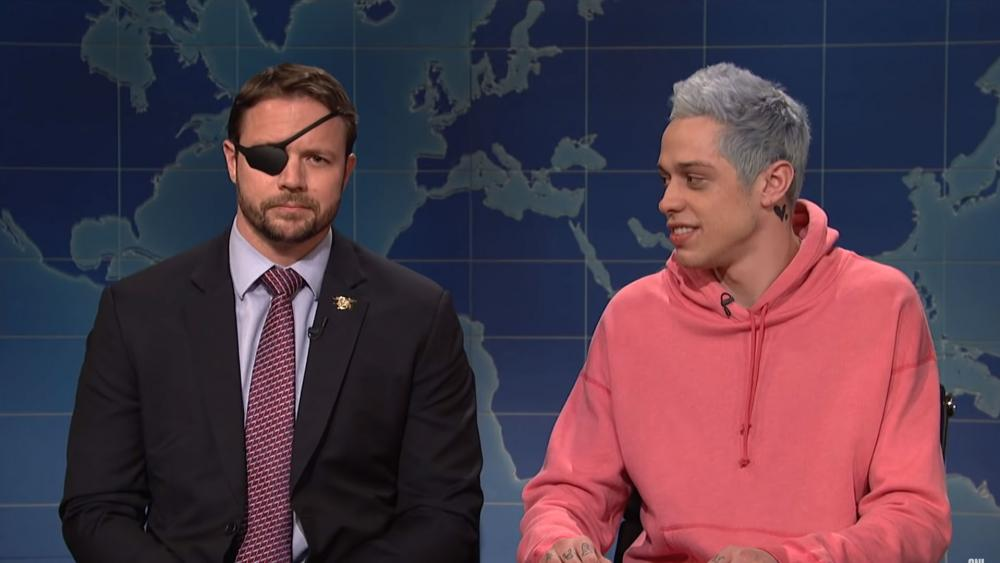 "Ex-Navy SEAL Lt. Com. Dan Crenshaw and comedian Pete Davidson on SNL's ""Weekend Update"""