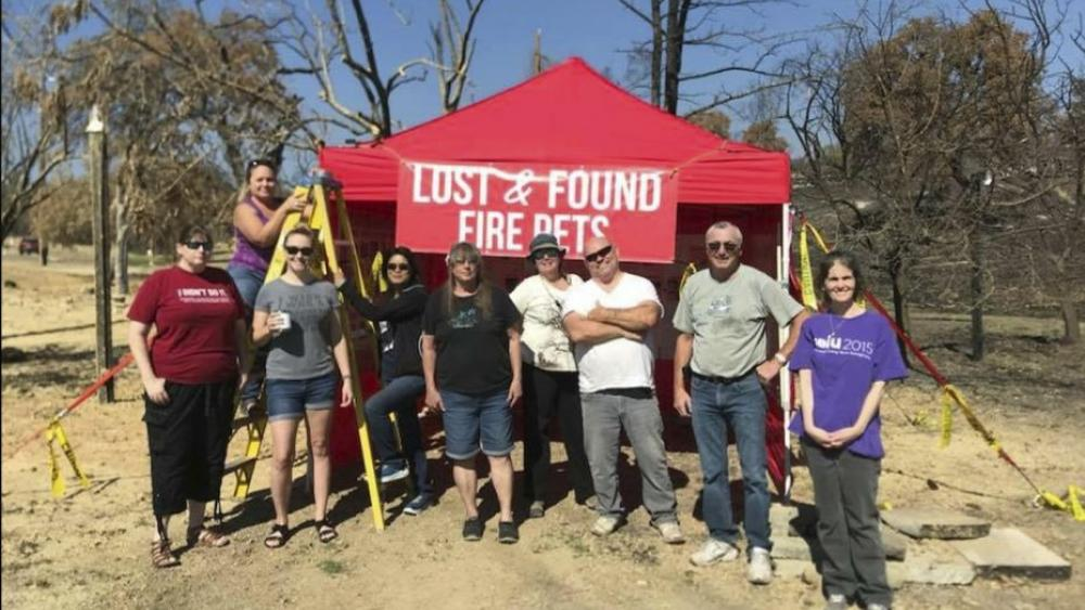 """Volunteers with Carr Fire Pet Rescue and Reunification pose with their """"Lost and Found Fire Pets"""" kiosk in Redding, Calif. Volunteers continue to track and catch missing pets nearly two months after the fire was extinguished. AP Photo."""
