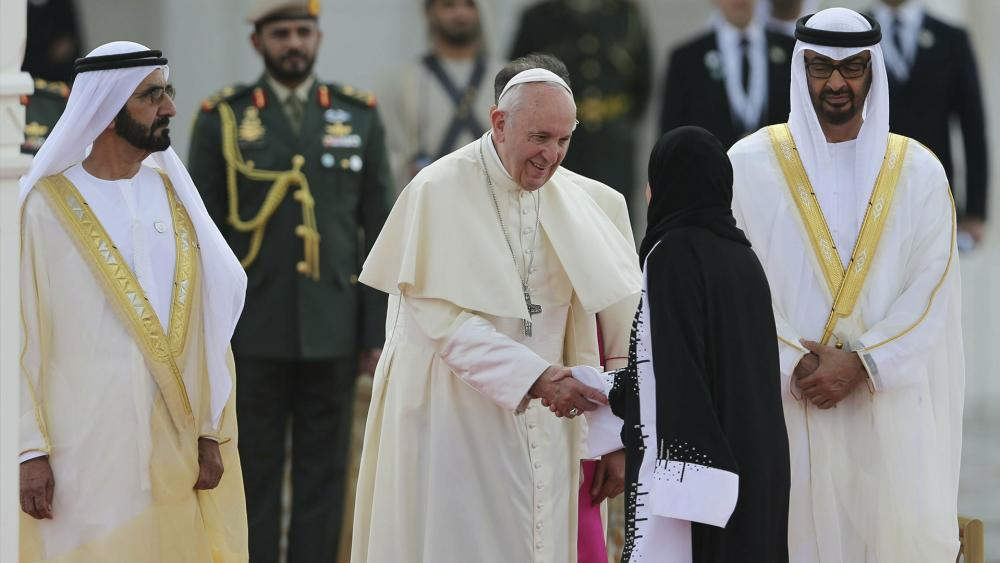 Pope Francis in the United Arab Emirates. (AP Photo)