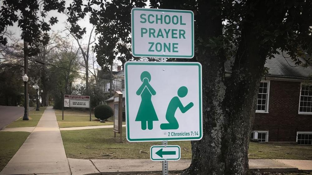 School Prayer Zone sign