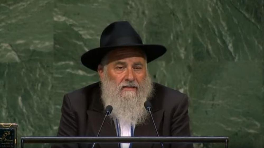Rabbi Yisroel Goldstein speaks to the United Nations General Assembly on June 28, 2019. (Image credit: CBN News)