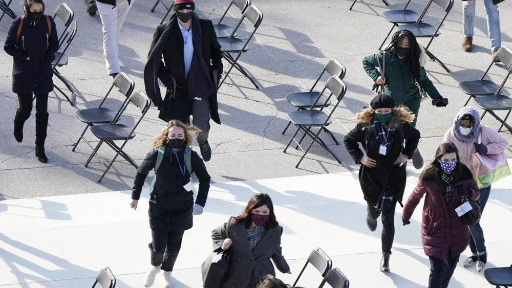 People evacuate from the West Front of the Capitol during rehearsal for the 59th Presidential Inauguration in Washington D.C. on Jan. 18, 2021. (AP Photo/Carolyn Kaster)