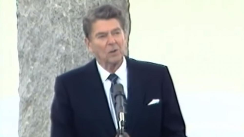 President Ronald Reagan gives his speech on the 40th anniversary of D-Day on June 6, 1984. (Screenshot courtesy: The Ronald Reagan Presidential Library/YouTube)