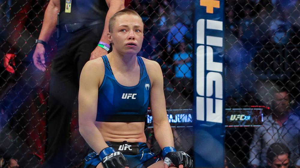 Rose Namajunas after a UFC 261 mixed martial arts victory, Saturday, April 24, 2021 (AP Photo/Gary McCullough)